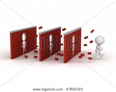 3D Character Running Through Three Brick Walls