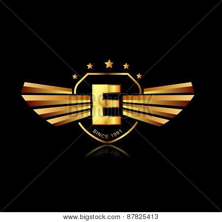 Letter E Winged Crests Logo . Alphabet Logotype Design Concept