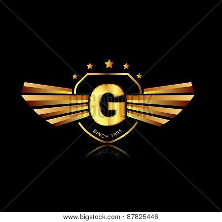 Letter G Winged Crests Logo . Alphabet Logotype Design Concept