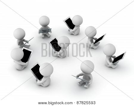 Many 3D Characters Sitting Reading from Tablets