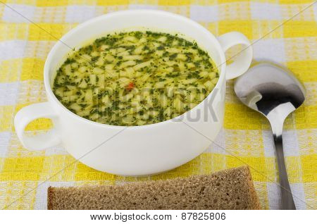 Bowl Of Soup And Bread