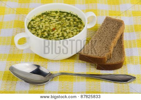 Bowl Of Soup With Pasta, Bread