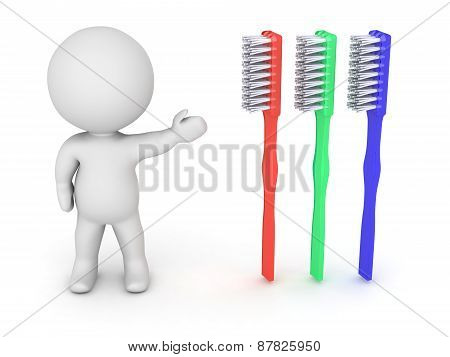 3D Character Showing Tooth Brush