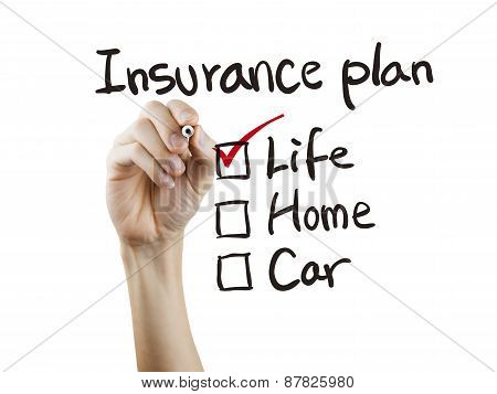 Insurance Plan Checklist Checking By Hand