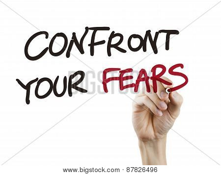 Confront Your Fears Words Written By Hand