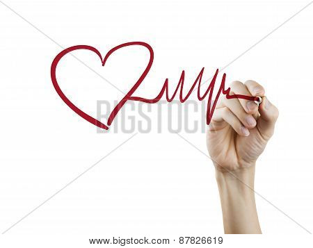 Heart And Heartbeat Symbol Drawn By Hand