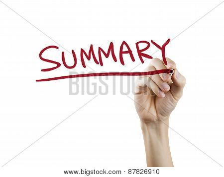 Summary Word Written By Hand