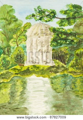 White Pavilion In Park, Painting