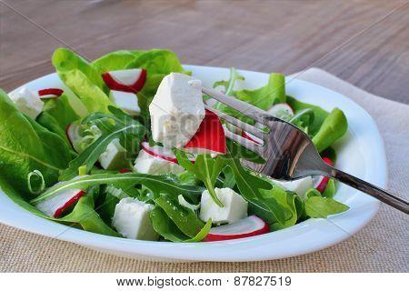 Fresh Leaf Vegetable Salad With Feta Cheese