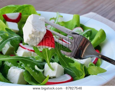 Leaf Vegetable Salad With Feta Cheese Closeup