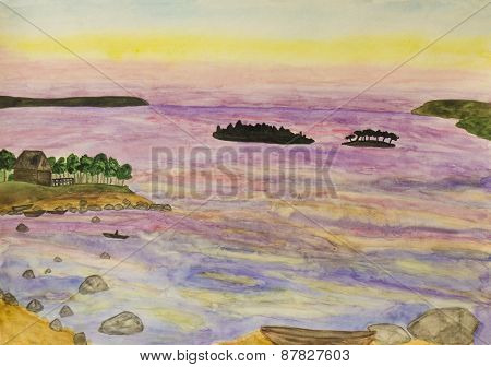 Sunset On The Sea, Painting