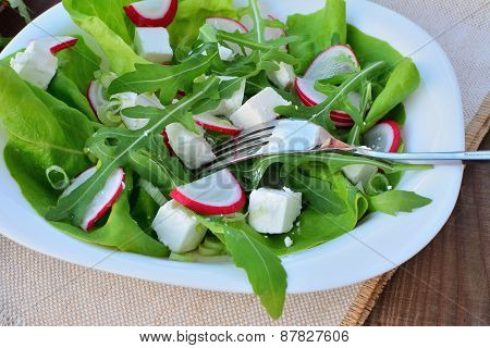 Raw Vegetable Salad With Feta Cheese Closeup