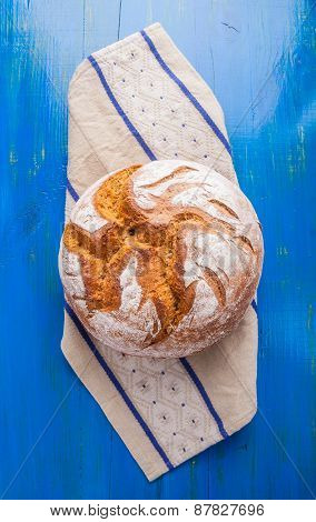 Rustic Sourdough Bread On A Linen Cloth