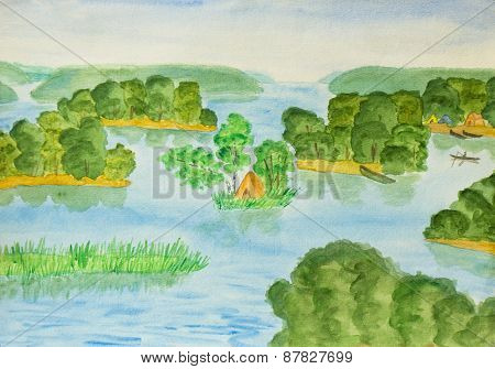 Lake With Islands, Painting