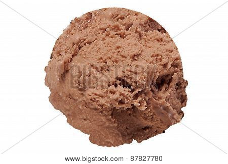Scoop of praline ice cream on white background