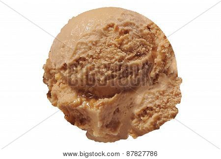 Scoop of caramel ice cream on white background
