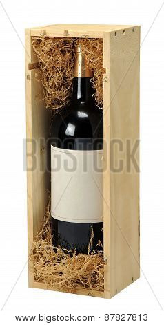 Wine bottle with wood gift box on white background