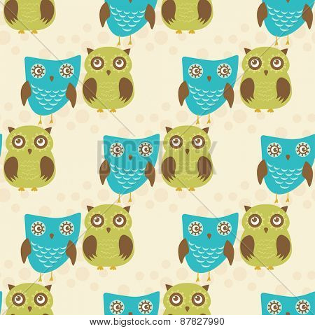 Cute seamless pattern with owls couple. Blue and green owls. Vector illustration.