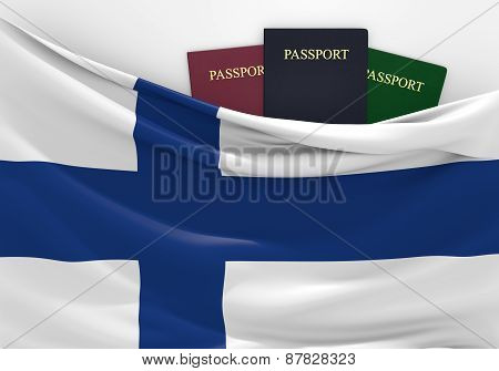 Travel and tourism in Finland, with assorted passports