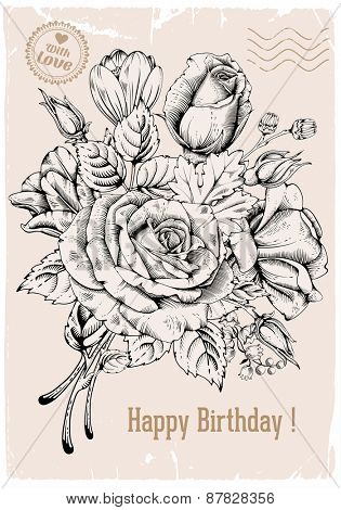 Vintage luxury card with detailed hand drawn flowers - blooming rose. Vector. Easy to edit.