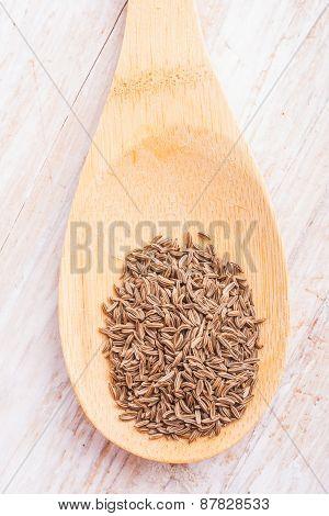 Cumin On Bamboo Wooden Spoon