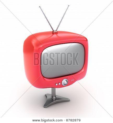 Red retro TV Set. Isolated on white background