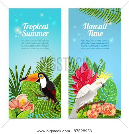 Tropical island birds vertical banners set
