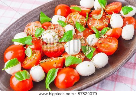 Salad With Tomatoes, Mozzarella And Fresh Basil