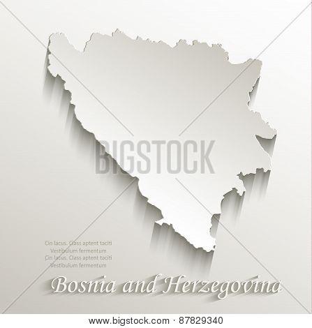 Bosnia and Herzegovina map card paper 3D natural vector