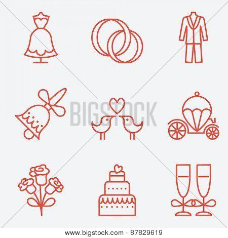 Wedding icons, thin line style, flat design
