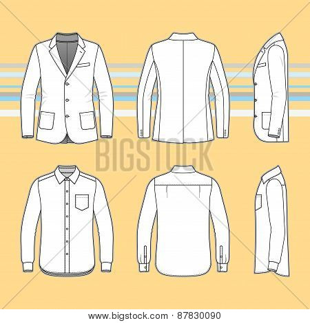 Simple Outline Drawing Of A Long Sleeves Shirt And Blazer
