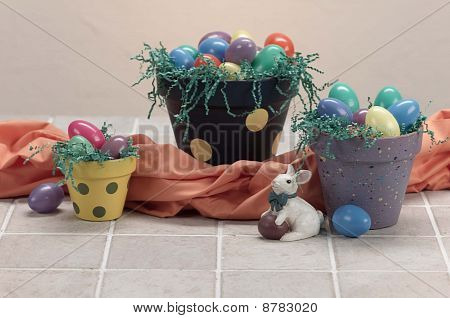 easter painted pots