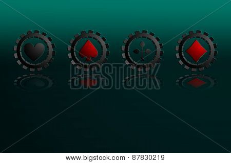 Vector Illustration of Falling black Poker Chips Isolated on green background