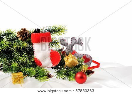 Christmas Background With Christmas Tree And Toy Boot