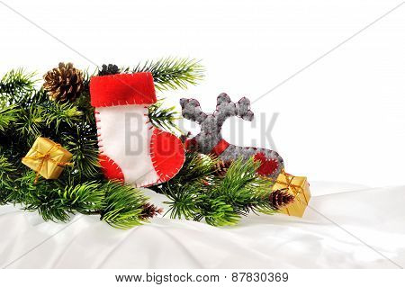 Christmas Red Sock Decoration On The Fir Branch