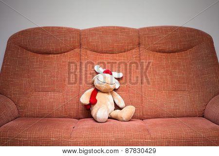 Reindeer Stuffed Toy On Sofa