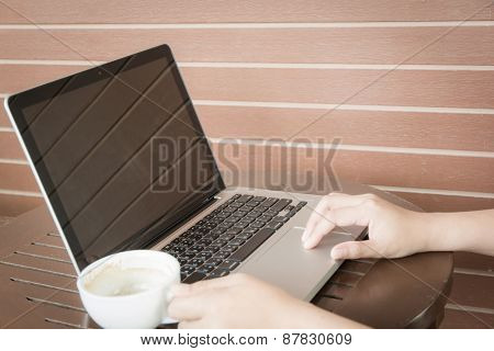 Close Up Woman Hands Working With Laptop