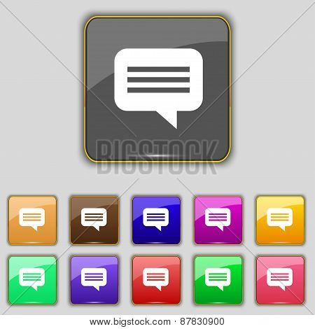Speech Bubble, Chat Think Icon Sign. Set With Eleven Colored Buttons For Your Site. Vector