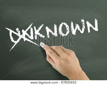 Hand Changing The Word Unknown Into Known