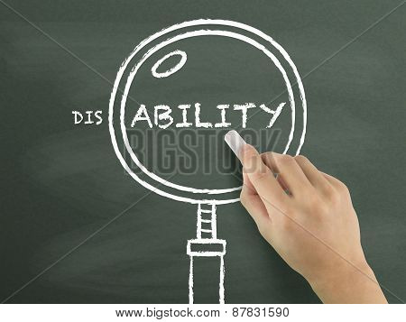Find Out Ability With Magnifying Glass Drawn By Hand
