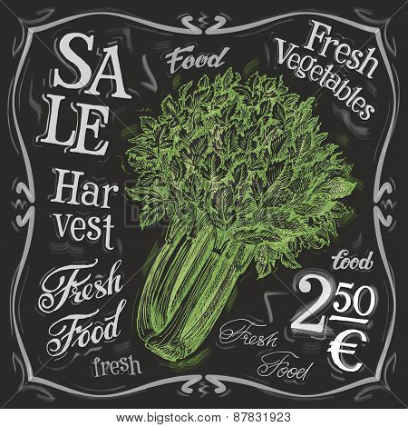celery vector logo design template.  fresh vegetables, food or menu board icon.
