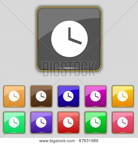 Mechanical Clock  Icon Sign. Set With Eleven Colored Buttons For Your Site. Vector
