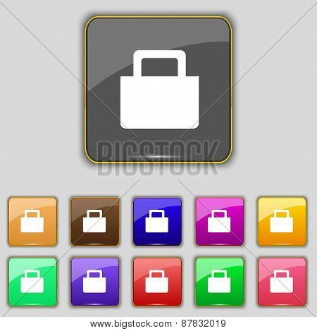 Sale Bag Icon Sign. Set With Eleven Colored Buttons For Your Site. Vector