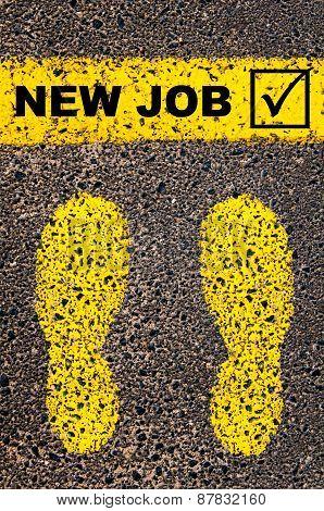 New Job And Check Mark Sign. Conceptual Image