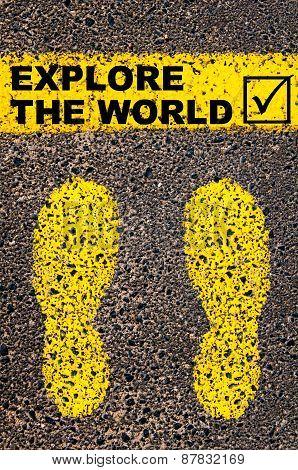 Explore The World And Check Mark Sign. Conceptual Image