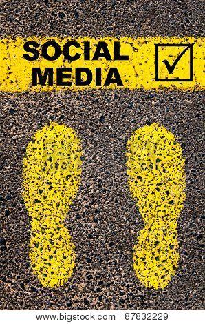 Social Media And Check Mark Sign. Conceptual Image