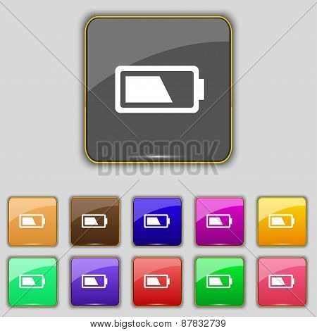 Battery Half Level Icon Sign. Set With Eleven Colored Buttons For Your Site. Vector