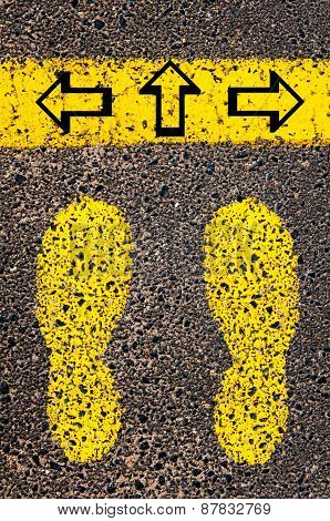 Arrows Left, Right, Forward. Indecision Conceptual Image