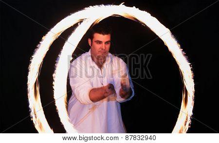 Fire-eater Spinning Fire