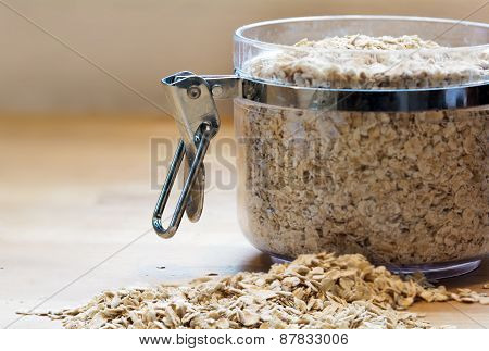 Rolled Oats In A Glass Jar